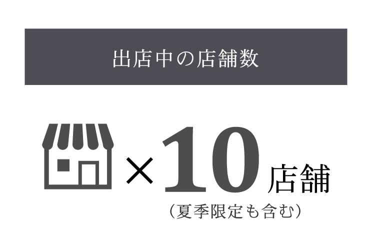 出店中の店舗数:10店舗(夏季限定も含む)